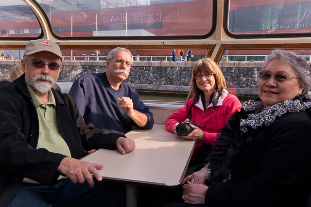 With our Canadian friends Steve and Susan on our comfortable canalboat.