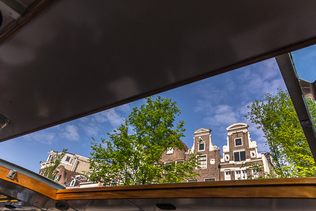 Looking through the canalboat's open roof.