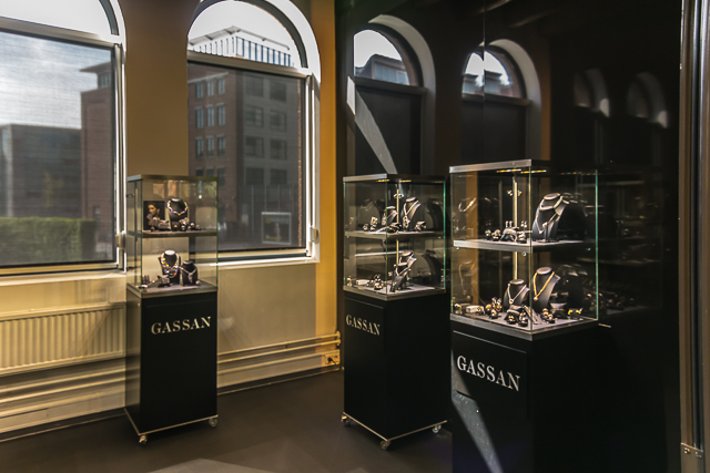 Display of diamond jewelry.