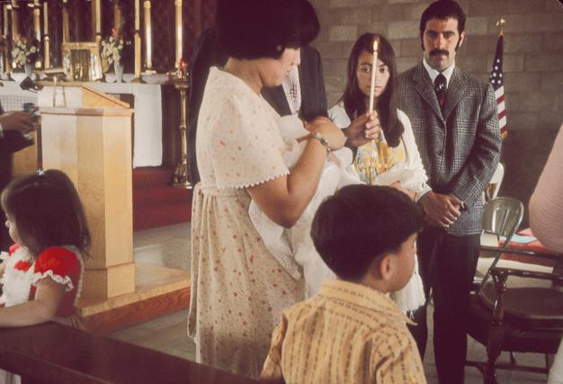 Our daughter Debbie's christening, 1973. Dennis was Debbie's godfather.