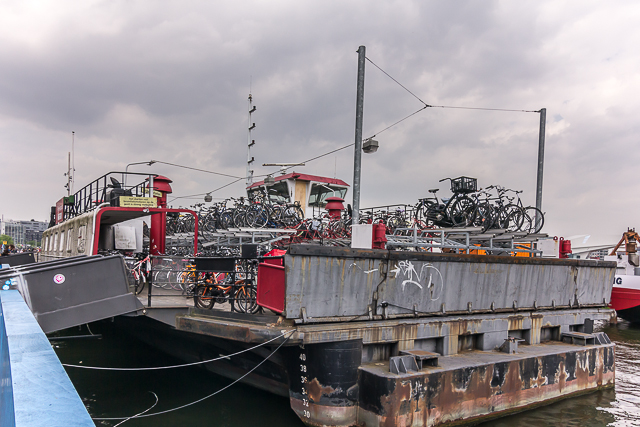 A floating parking garage for bicycles.