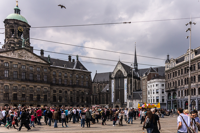 The west side of Dam Square. The Royal Palace is on the left and the Nieuwe Kerk (New Church, as opposed to the Old Church in the Red-Light District which was deemed too small for a booming Amsterdam in the 17th century) is on the right.