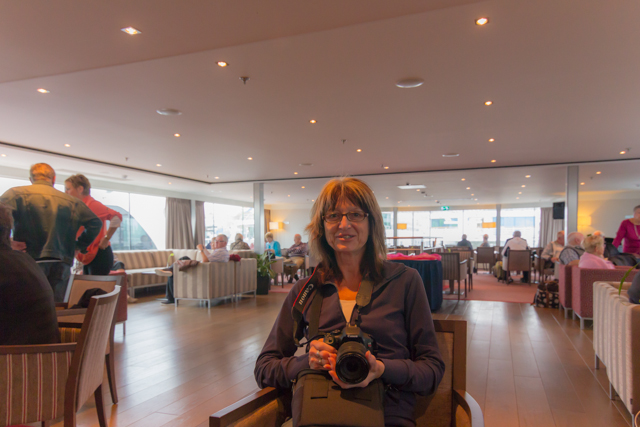 Waiting in the lounge at the end of the cruise. Our friend Susan from Ontario had a Canon camera similar to mine.