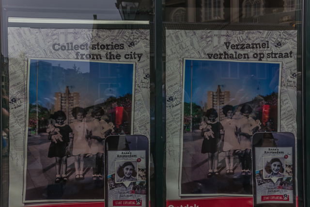 Window display around the corner from the Anne Frank House.