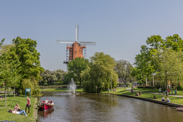 View from the first canal bridge we encountered on our walk. We visited this windmill after lunch.