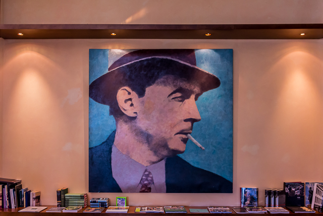Portrait of Erich Maria Remarque in the hotel lobby. His books were banned in Germany in 1931 and in 1933 he moved to Switzerland and in 1939 to the US where he became a citizen in 1947. He died in Switzerland in 1970.