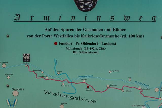 The Way of Arminius. My Thelers lived on a farm in Hedemer Buchholz across the canal from Hedem which is now a part of Preussisch Oldendorf. The family worshiped at a church in lswede, now a part of Lubbecke. Mygreat great grandfather was baptized in Hunteburg which is now a part of Bromte and about four miles from Kalkriese.