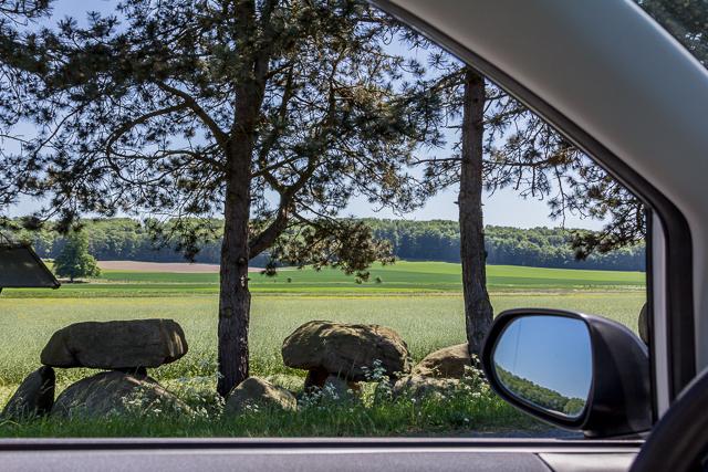 Dolmens framed by Carol's car.