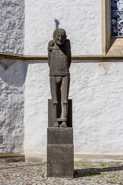 This poor soul was one of several statues outside the former church now museum.