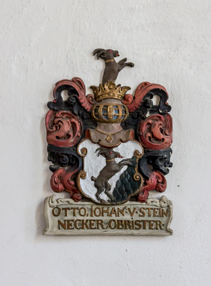 Steinnecker coat of arms. Otto was a nobleman on the side of the Swedes during the Thirty Years War. He probably paid for some of the baroque additions to the church in the 17th century.