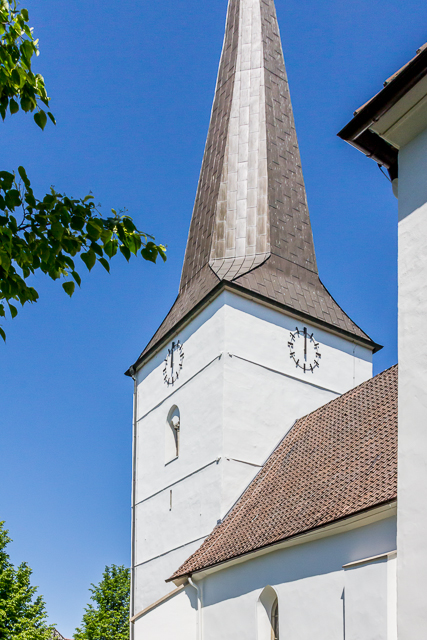 The church's tower dates bak to the 14th century. The spire was added in the early 18th century.