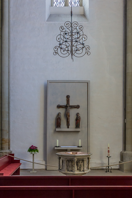 The baptismal font dates from the 1560s.