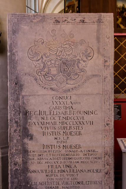Tombstone inscription for Justus Moser, a prominent 18th century jurist who lived in Osnabrück.