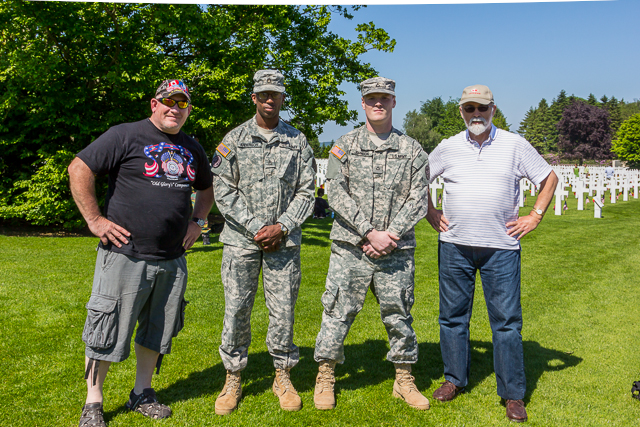 That's me on the right with two US soldiers stationed nearby. The guy on the left was making a documentary on Henri-Chapelle.