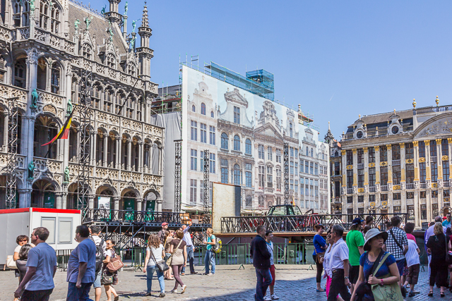 The North side of Grand Place. Maison du Roi is on the left. All of the other buildings are being renovated and have a huge canvas covering the scaffolding.