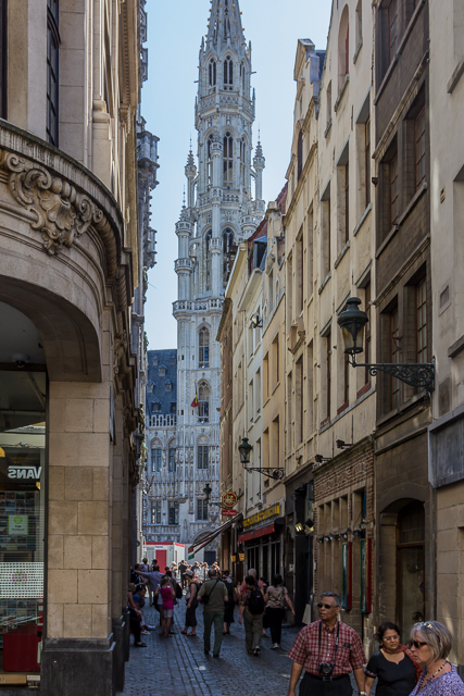 View of the Town Hall Tower from one of several alleys that lead to the Grand Place.