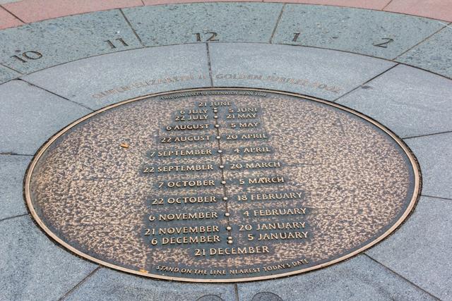 Sundial erected in 2002 in honor of the Golden Jubilee of Queen Elizabeth II.