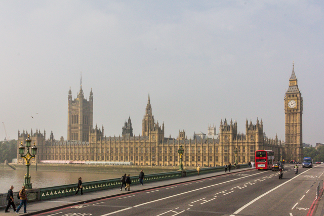 View of the UK's Houses of Parliament at Westminster Palace from Westminster Bridge. That's Victoria Tower on the left and the Tower of Big Ben on the right.