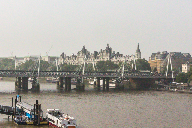 The Hungerford (train) and Jubilee (pedestrian) bridges from Waterloo Bridge.