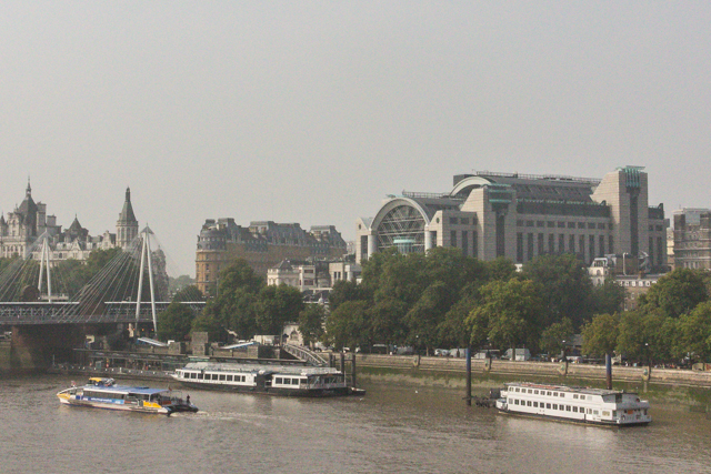 Embankment Place stands over Charring Cross Station -- from Waterloo Bridge.