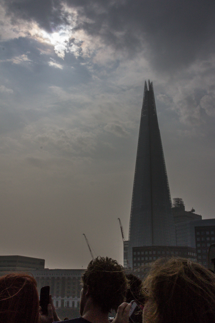 View of the Shard as we approach London Bridge.