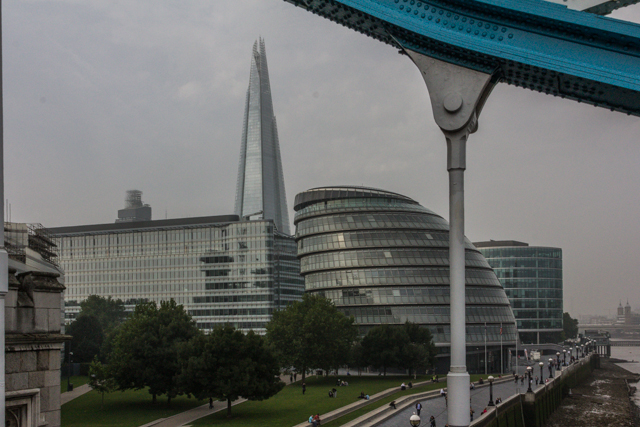 The Shard and City Hall from Tower Bridge.