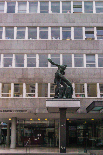 "Trade Union Congress building on Great Russell Street. The sculpture is called ""The Spirit of Brotherhood"" and is by Bernard Meadows."