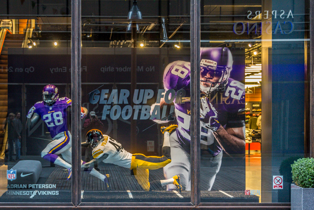 Window display in Westfield Centre store. Adrian Peterson (number 28) is the star running back for the Minnesota Vikings.