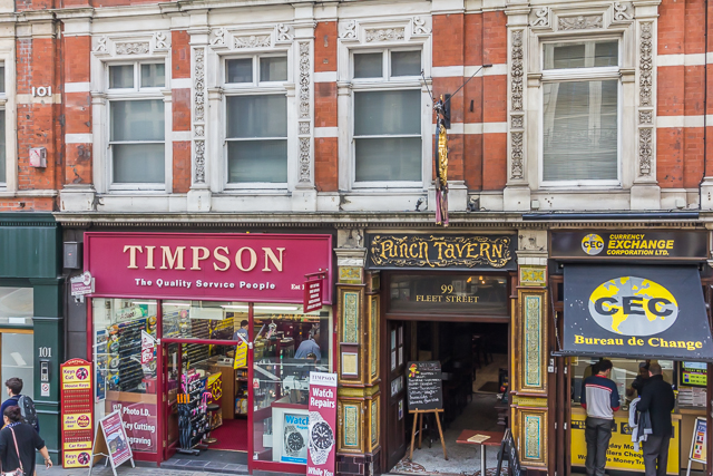 Punch Tavern on Fleet Street. The founders of Punch Magazine used to meet here. There are more than 100 pubs in the Punch chain that is now called Taylor-Walker.