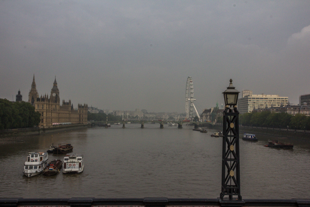 The view from Lambeth Bridge. This was our sixth and final crossing of the Thames during our tour.
