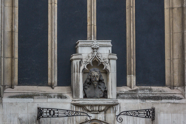 Bust of King Charles I on St Margaret's Church at Parliament Square.