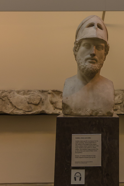 The soldier-statesman Pericles was noted for his oratory skills. He presided over Athens during its Golden Age and died of the plague in 429 BC.
