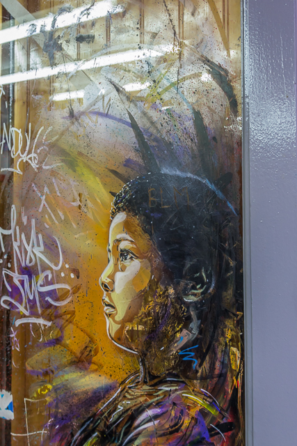 I found this art by the artist C215 on a barber shop door.