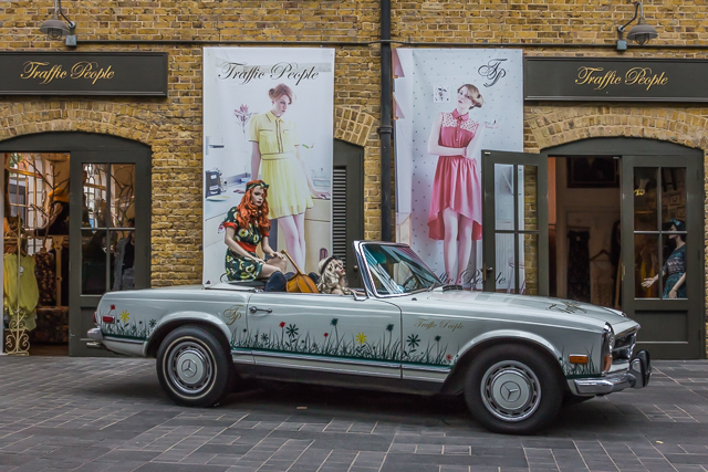 Traffic Peoples display inside Spitalfields Market.