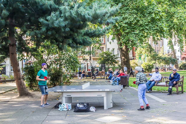 Ping Pong in Soho Square.