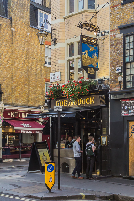 The Dog and Duck on Bateman near Soho Square. A Nicholson's pub. John Constable, Dante Rosetti and George Orwell stopped by here often.