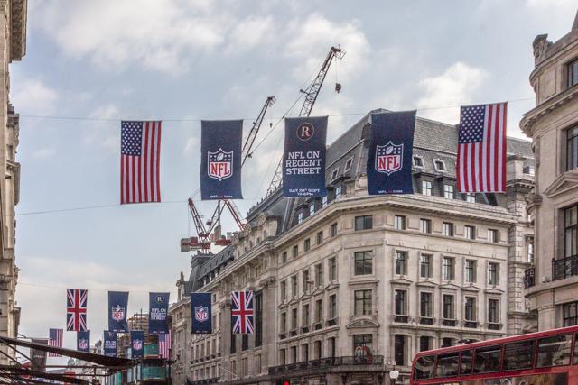 NFL banners over Regent Street.