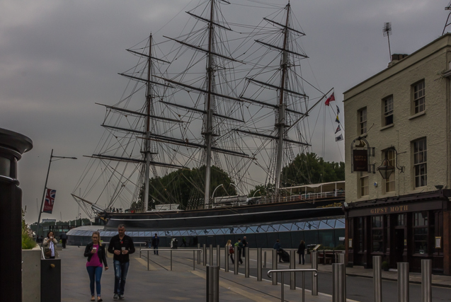 The Gipsy Moth to the right of the Cutty Sark. Remember Sir Francis Chichester and his solo sail around the world in 1966? He called his little boat The Gipsy Moth.