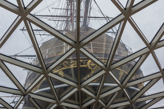 The Cutty Sark's visitor center glass roof.