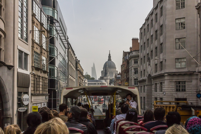 Riding east on Fleet Street on the Big Bus.
