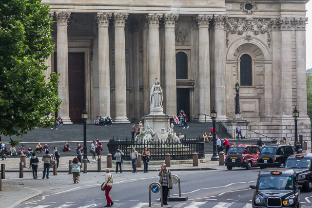 The Queen Anne monument in front of St Paul's. The cathedral was completed in 1708 during Queen Anne's reign.