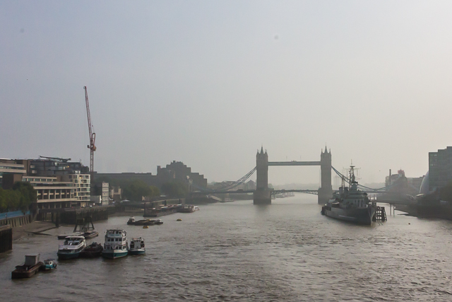 What everyone else was looking at: The London Tower Bridge and the HMS Belfast museum ship on a rather hazy day.