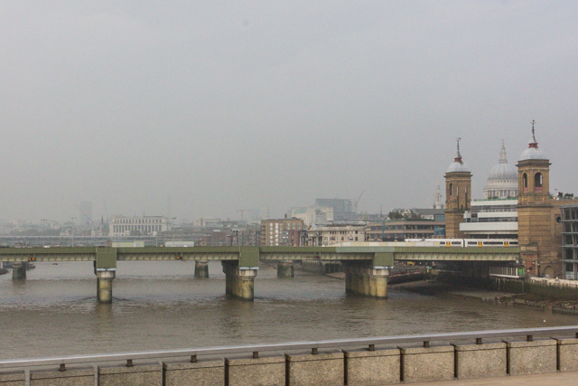 The view to the right of the Cannon Street Bridge. Hey, that's St Paul's looming above the Cannon Street Station!