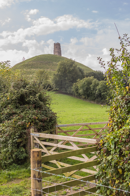 Glastonbury Tor and tower, the ruins of a 12th century church.