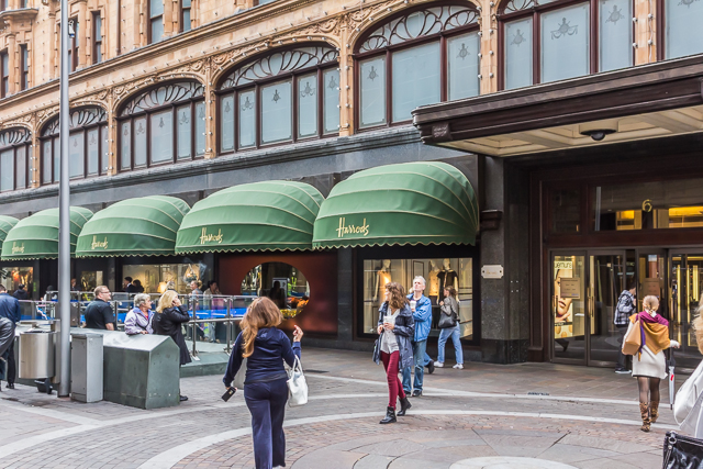 One of four Brompton Road entrances to Harrods.