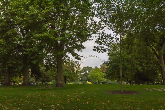 View of St James's Park and The London Eye from The Mall.