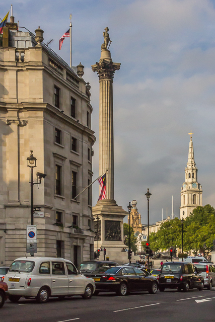 At the intersection of The Mall and Spring Gardens we caught our first glimpse of Nelson's Column and the steeple of St Martins-in-the-Fields.