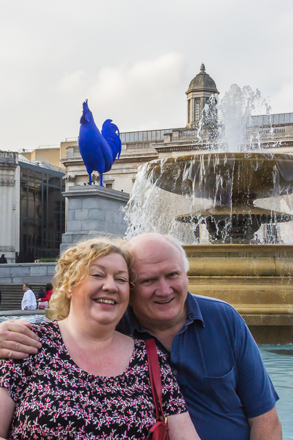 Henry and Geraldine, our Irish cousins, pose in front of the west fountain and the fourth plinth.