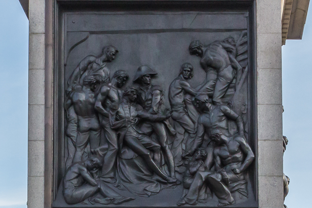 Relief at the base of Nelson's Column depicting the death of the war hero during the Battle of Trafalgar in 1805 when the British navy defeated Napoleon's fleet.