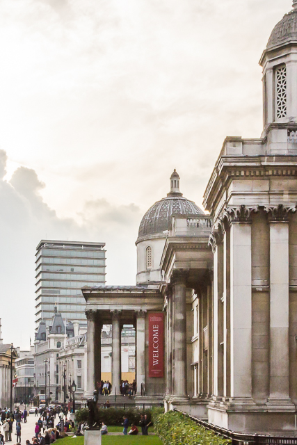 Side view of the National Gallery from the steps of St Martins-in-the-fields. I visited inside the church for a few minutes but was not allowed to take any photographs because the choir was rehearsing for Evensong.